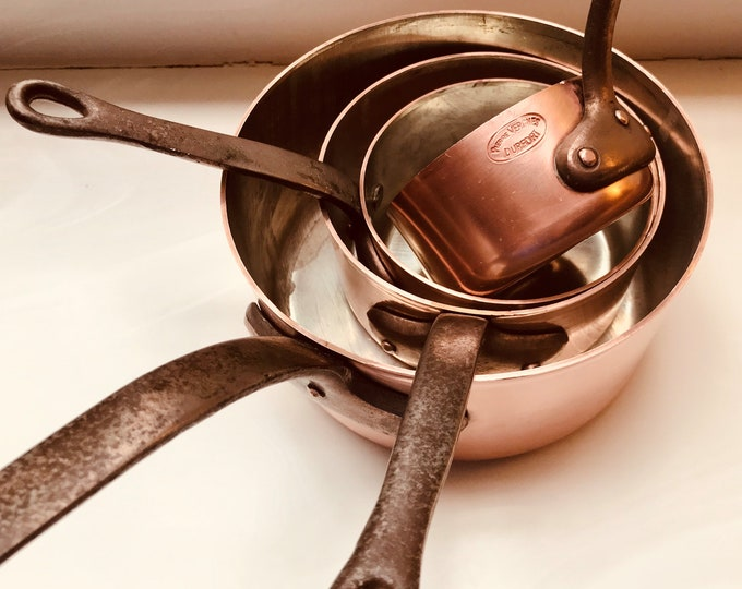 Featured listing image: French 4 piece copper saucepan set with new tin lining