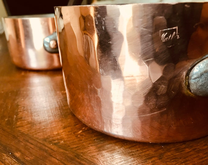 Featured listing image: Professional Matfer Copper Saucepans (2) vintage with Wrought Iron Handles; copper bubble Hammered rivets.