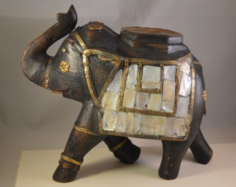 Vintage wooden,brass,mother of pearl antique elephant figurine,elephant statue.