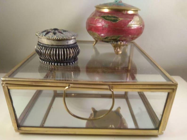 glass Jewelry Storage,trinket boxs collection set of 3 Vintage metal brass