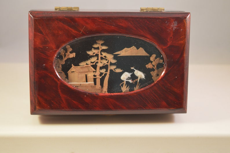 Vintage chinese wooden cork jewelry box