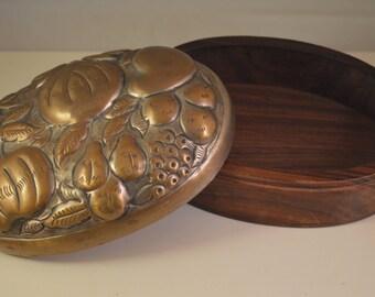 Vintage wood, brass,jewelry box, storage box fruits figure