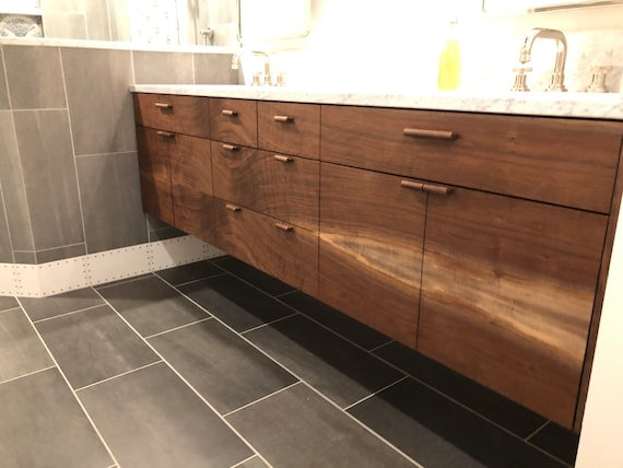 Walnut Floating Vanity 36 Custom Vanity Bathroom Etsy