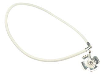 6f4f71119 ... shopping genuine white leather clip clasp opener with sterling silver  flower for european bracelets and necklaces
