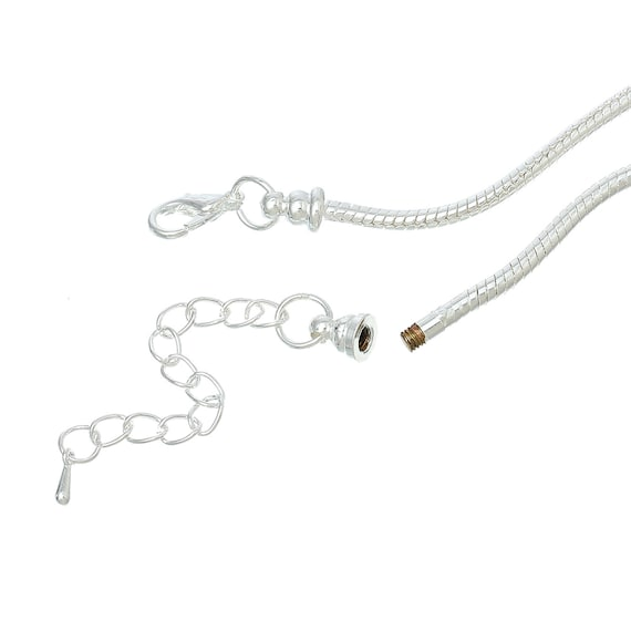 "Snake chain necklace 16/"" for Euro Beads 3mm thick silver plated chain."
