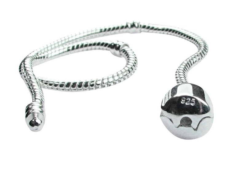 """20/"""" Genuine Sterling Silver Snap Clasp Snake Charm Necklace with threads 50cm"""