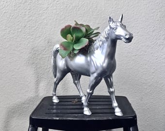 Stallion Horse Toy Planter with Faux Succulent