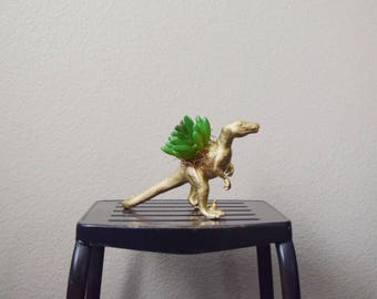 Raptor Dinosaur Toy Planter with Faux Succulent