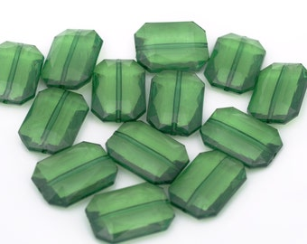 EMERALD Green Rectangle Chunky Beads, Bulk Acrylic Flat Nugget Beads, Gem Stone Wholesale Bead for Statement Necklace Bangle Bracelets,