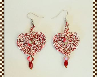 """heart"" crocheted earrings."