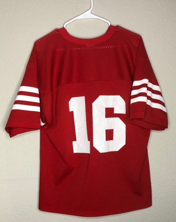 new product 27cf5 330b2 Vintage Logo 7 San Francisco 49ers Joe Montana Jersey made in USA Size  Large 46-48 NFL