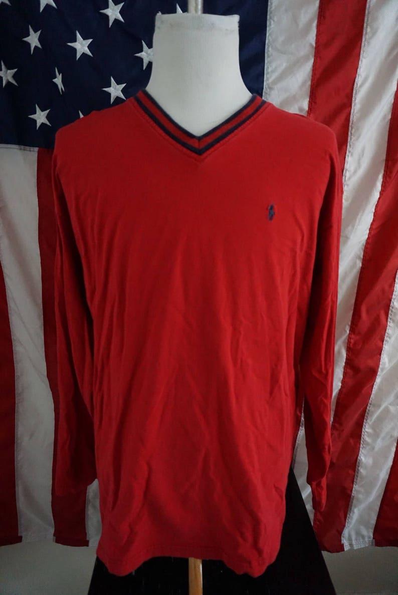 Vintage vtg polo raph lauren red light long sleeve v neck sweater dark blue trim size XL