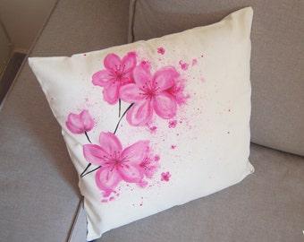 Flowers hand painted pillows series / Cherry Blossom throw pillow / Sakura Pillow cover