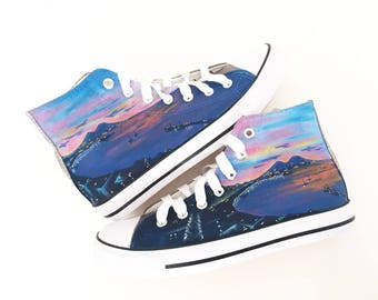 Personalized shoes / Country shoes - Italy shoes / Naples Landscape / City theme