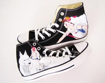 006f95a85f90 Studio Ghibli hand painted shoes series   Princess Mononoke shoes    Mononoke and Wolf shoes