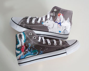 Studio Ghibli hand painted shoes series / Ghibli characters shoes / Spirited away and Mononoke shoes
