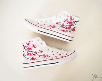 245b8225ea Japanese hand painted shoes   Sakura shoes   Cherry blossom shoes