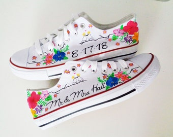 b6e4e5e9259abf Personalized shoes   Wedding painted shoes   Wedding theme - Just Married   Tropical  Flowers theme   Save the Date
