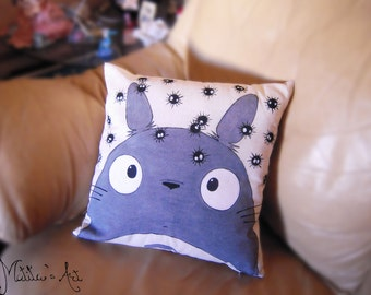 Studio Ghibli hand painted pillow series / Totoro - Soot Sprites throw pillow / Pillow cover