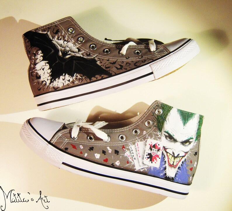 a67b09a25e93 Batman and Joker hand painted shoes   DC Comics shoes   Batman