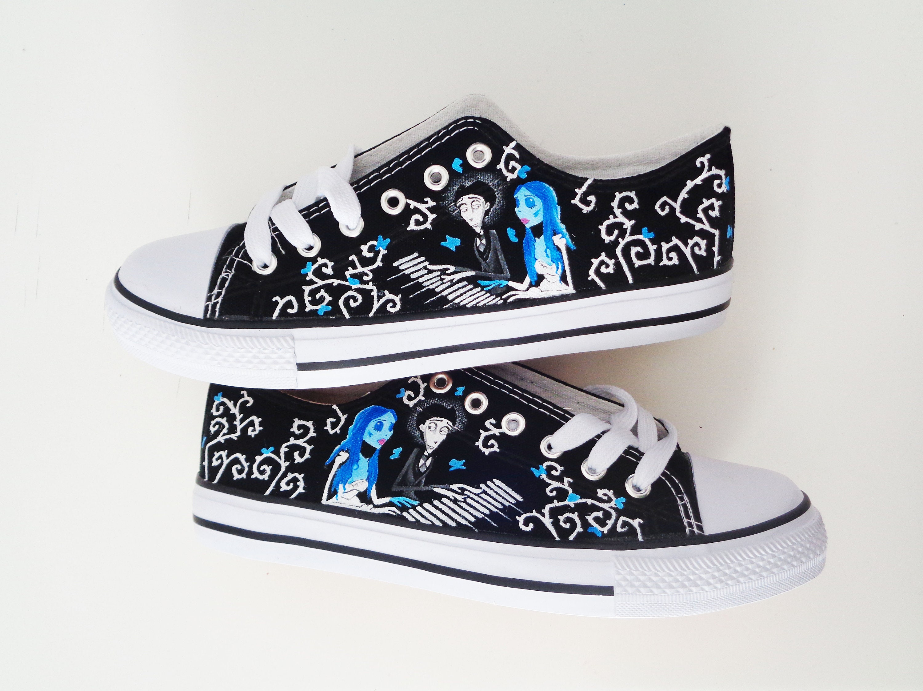 ae8402fc67189 Tim Burton hand painted shoes / Corpse bride shoes