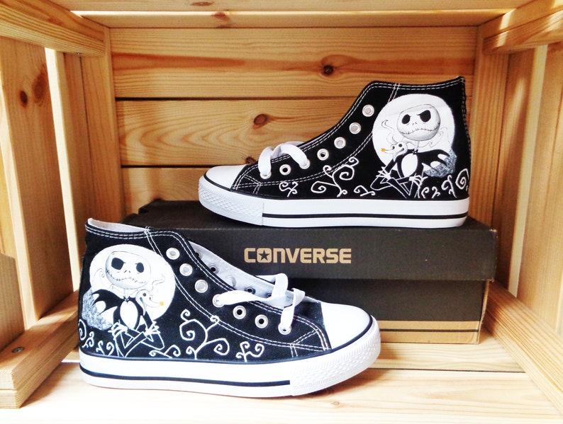 db88ce52813b5 Nightmare Before Christmas Converse / hand painted Converse series / Custom  Converse / Tim Burton Converse