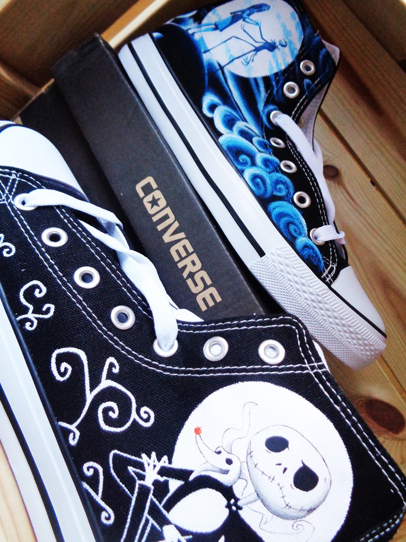 b098f521facb8 Nightmare Before Christmas Converse / hand painted Converse series / Custom  Converse / Tim Burton Converse / Jack and Sally Converse