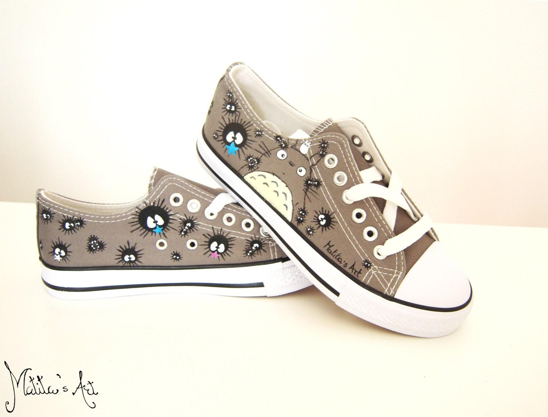 Studio Ghibli hand Totoro painted shoes series / Totoro hand shoes - Low Top 4c1d43