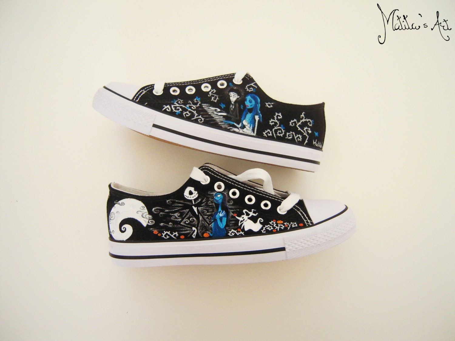 9b083b206cfd9 Tim Burton hand painted shoes / Corpse bride shoes / Nightmare before  christmas shoes