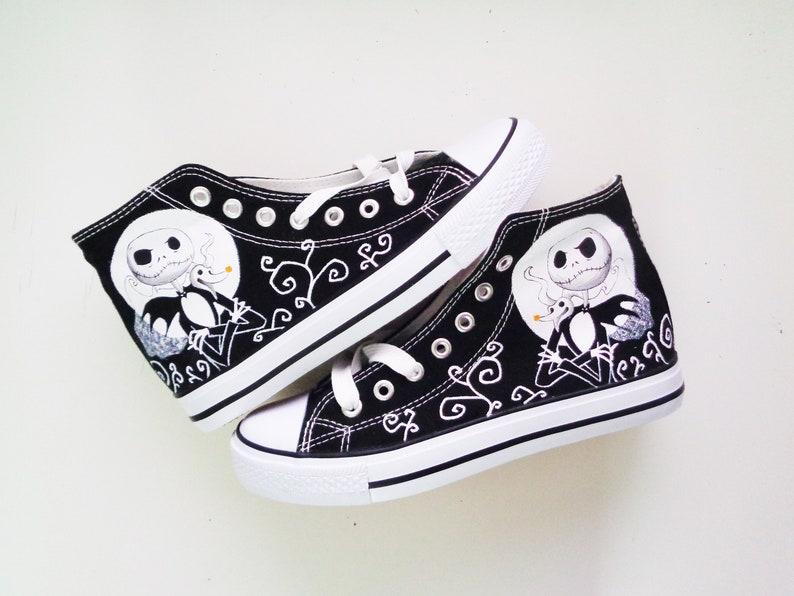 d73871a034f0c Tim Burton hand painted shoes / The Nightmare Before Christmas shoes /Jack  Skeletron Sneakers