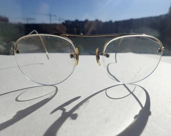 f5d1acaa1ee Gold Wire Rim Eyeglasses Sunglasses Frame Vintage 1940s