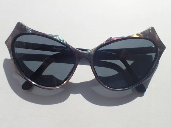 Cat's Eye Sunglasses Pearlescent Black Frame Franc