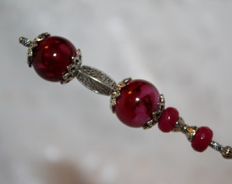 """8""""  Long Hatpin }{ Raspberry }{ Sturdy Stick }{ New  Antique Inspired Victorian Derby  Hat Pin Vintage  HP2218"""