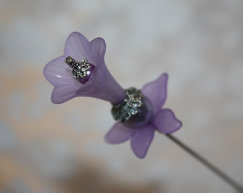 """8"""" Long Hatpin }{ Lavender Trumpet Flower & Pearls }{ Sturdy Stick }{ New Antique  Victorian Easter Derby Scarf Hat Pin Vintage  HP2417"""