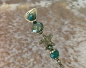 Hat Pin Starfish Carnival Aqua Glass 7 Long Sturdy Stick with Point Cover to Use Wear Star Fish Sun Summer Hatpin Beach HP1346