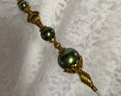 Victorian Hat Pin 9 Long Sturdy Steel Stick with Clutch Cap to Use Wear Green Pearl Hatpin Scarf HP1057