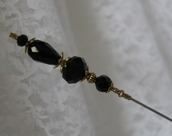 6 Long Hat Pin }{ Black Crystal Glass { Sturdy Stick } Mourning New Victorian Art Deco Edwardian Antique Lapel Scarf Hatpin Vintage HP2943