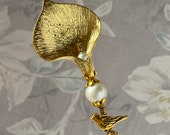 Victorian Hatpin Gold Calla Lily Pearl 9 Or Shorter Long Sturdy Stick with Cap to Wear Scarf Hat Pin HP1514
