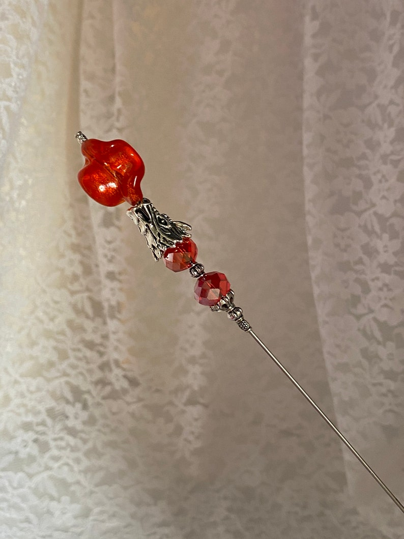 Dragon Hat Pin }{ Sparkling Orange Crystal Glass Fire 8\u201d Long Sturdy Pin and Clutch to cover sharp point }{ Hatpin HP961