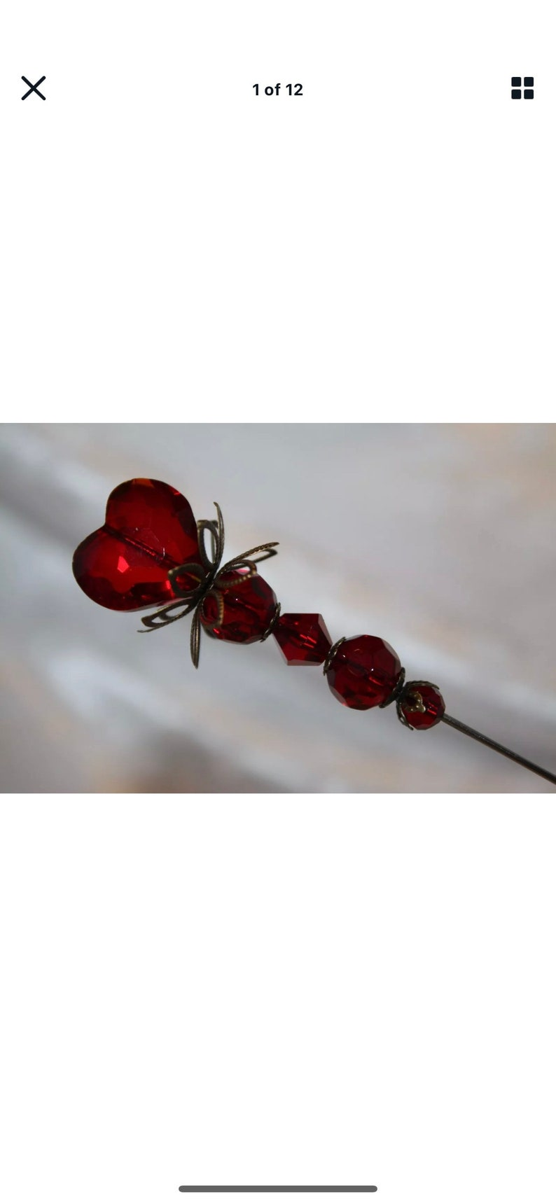 Sparkling Red Crystal Heart Hat Pin /& Clutch } 8\u201d Long Sturdy Steel Pin to Wear } Antique Vintage Style Hatpin Lapel Scarf Victorian HP338