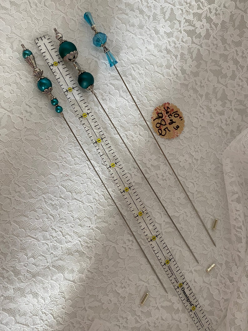 3 Large Victorian Hat Pins }{ Sparkling Crystal Glass Peacock } 10\u201d Long Sturdy Steel Sticks /& Caps }{ Hatpin Set Lot HP985