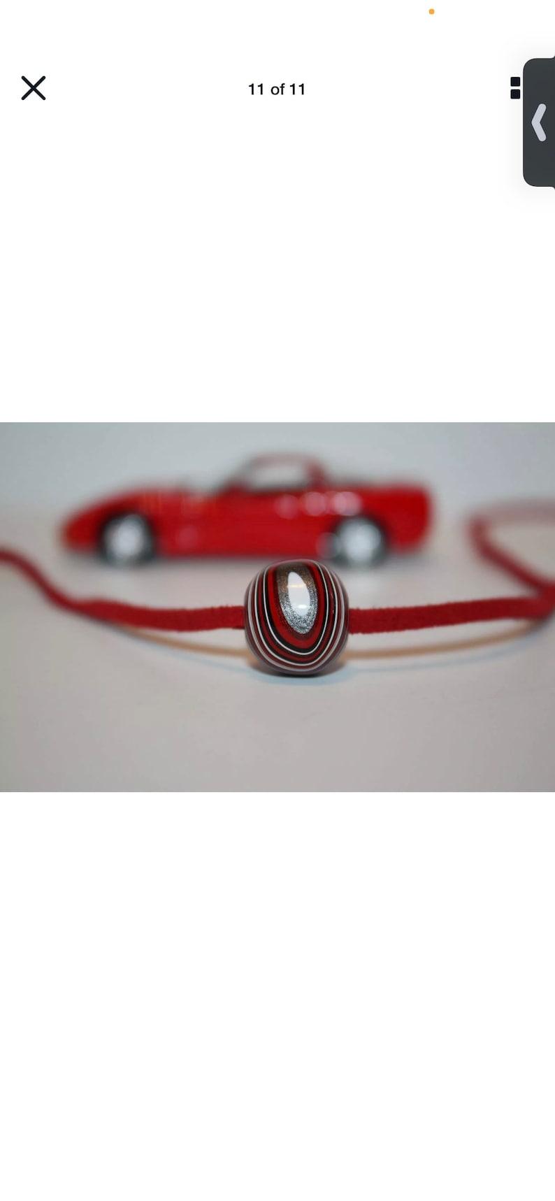 Unisex Corvette Fordite Bead White }{ European Big Hole }{ For Necklace or Bracelet }{ Authentic Corvette Paint E94