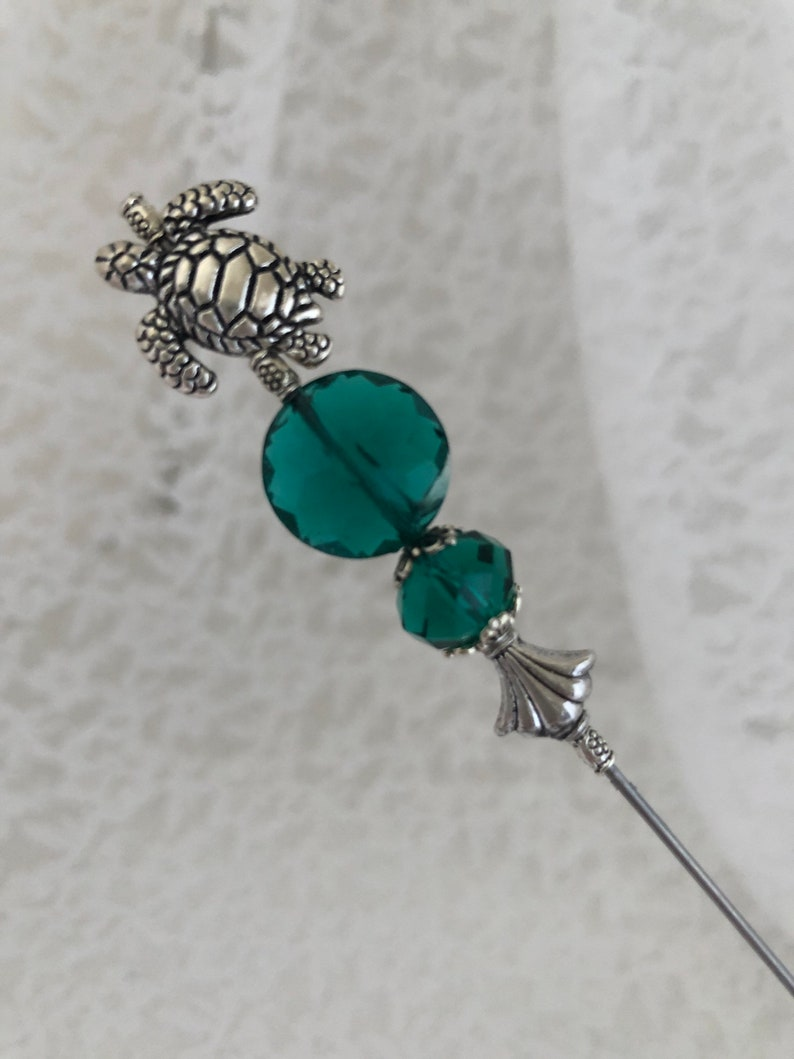 Turtle Hatpin }{Peacock Green Crystal Glass } 8\u201d Long Sturdy Steel Stick with Clutch  to Use and Wear }{ Hat Pin Scarf Sun Beach }{ HP762