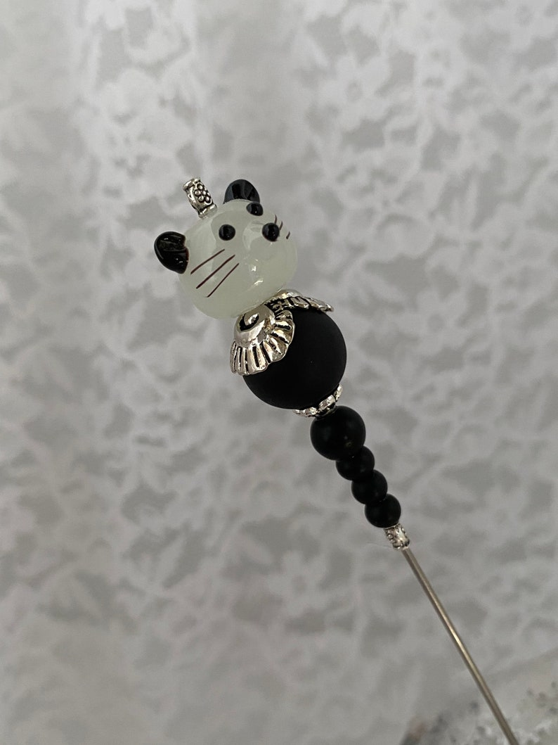 Mouse Victorian Long Hat Pin }{ 7\u201d Sturdy Steel Stick with Clutch Cap to Wear }{ Hand painted Glass Mouse Black  Hatpin  }{ HP1231