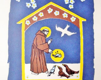 Shrine for a bird, limited edition screen-print