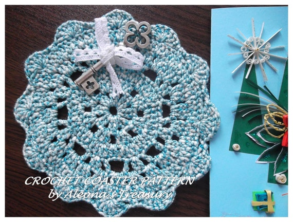 Easy Blue Crochet Coaster Pattern Beginner Crochet Patterns Etsy
