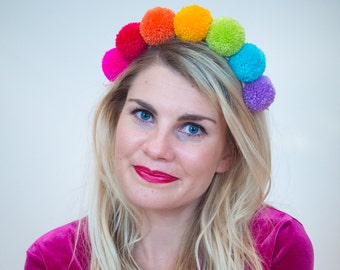 Summer Rainbow Pom Pom Headband