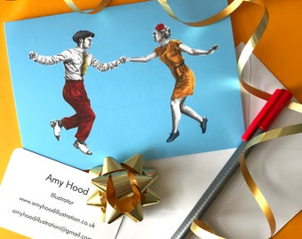 Swing Out Lindy Hop A6 greetings card with envelope, blank card, birthday card, original illustration, illustrated card