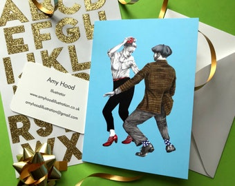 Swivels Lindy Hop A6 greetings card with envelope, blank card, birthday card, original illustration, illustrated card