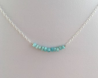 Larimar necklace, layering necklace, gift for her, light blue gemstone Sterling silver necklace, girlfriend gift, sister gift, daughter gift